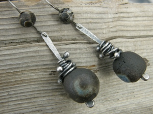 Sterling silver wire, my own ceramic beads, turritella agate beads.